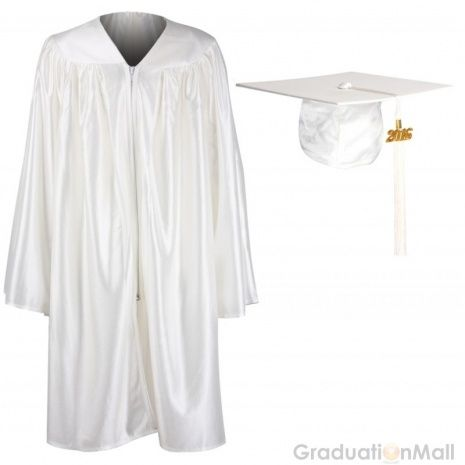 White Graduation Cap And Gown
