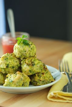Baked Chicken Zucchini Meatballs - No-mess, no-fuss easy main dish for 5.