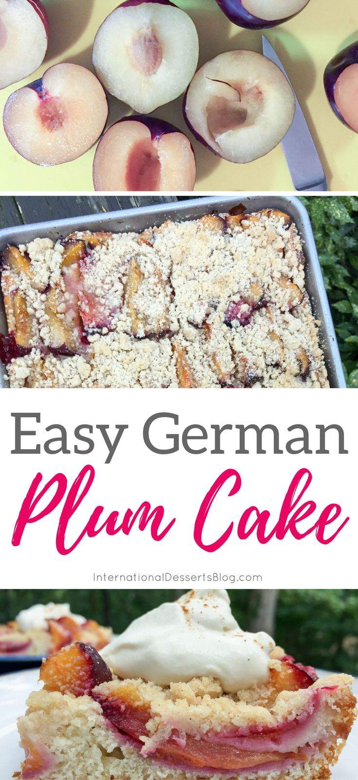 So good and so easy! You've GOT to try this German plum cake! #cakerecipes #fruitrecipes #dessert #baking #easyrecipe
