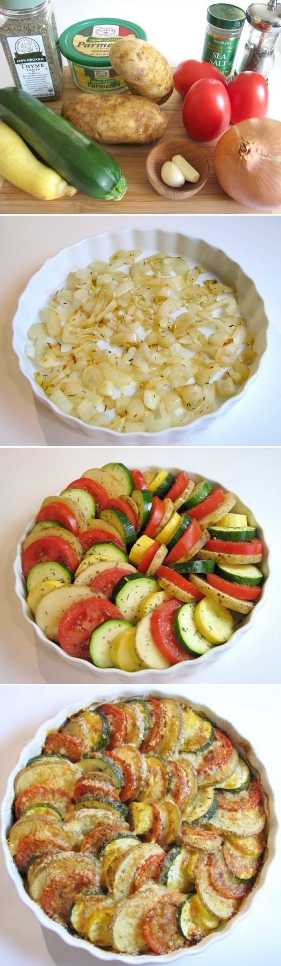 Parmesan Vegetable Spiral: a bed of onions is topped by a medley of veggies (tomatoes, potatoes, squash & zucchini) then drizzled w EVOO, sprinkled w Parmesan cheese & roasted to perfection. I fell in love with this dish years ago and have been looking for the recipe ever since! Yay!