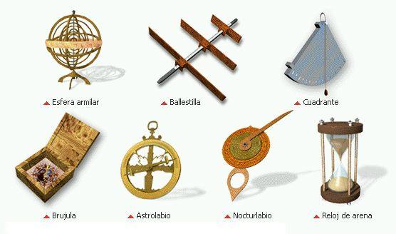Estos son otros ejemplos de instrumentos de navegación: 1. Ballestina, era utilizado para medir la altura del sol y otros astros sobre el horizonte.  2. Cuadrante, utilizado para medir ángulos en astronomía y navegación.  3. Nocturlabio, es un instrumento utilizado para determinar el tiempo en función de la posición de una determinada estrella en el cielo nocturno. 4. Reloj de arena.
