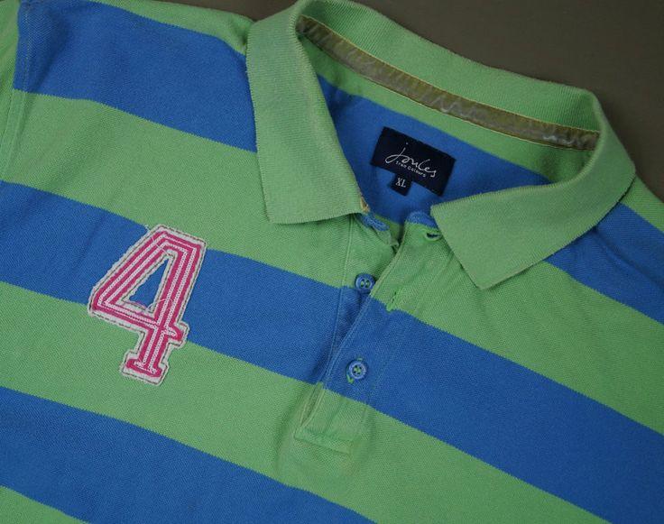 Men s JOULES Polo Shirt Size XL Green Blue Stripes Short Sleeve Pink Logo Cotton