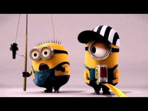 Minions from Despicable Me challenge each other to see who can get out furthest from the edge. Cute.
