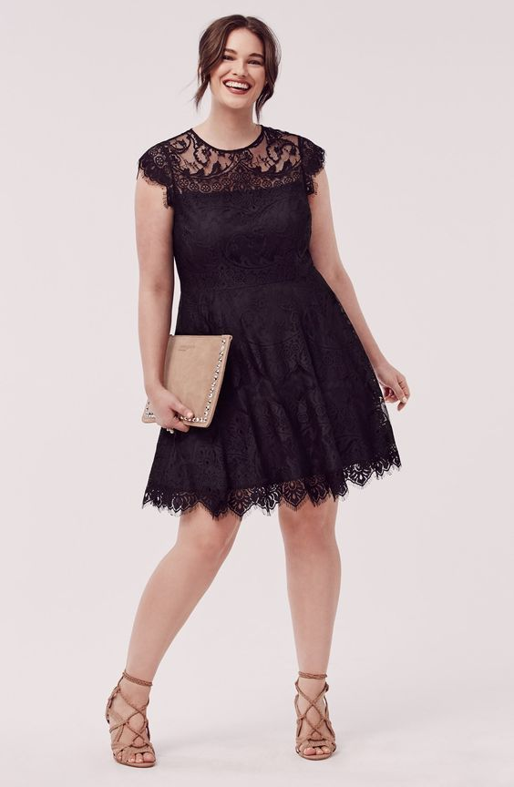Nordstrom - Ever-romantic lace takes beguiling form in a flirty party dress fashioned with a sheer-illusion neckline and pretty cutout in back. Delicate eyelash threads detail the scalloped hem and sleeves. Brand: BB DAKOTA. Style Name:Bb Dakota 'Rhianna' Lace Fit & Flare Dress (Plus Size).