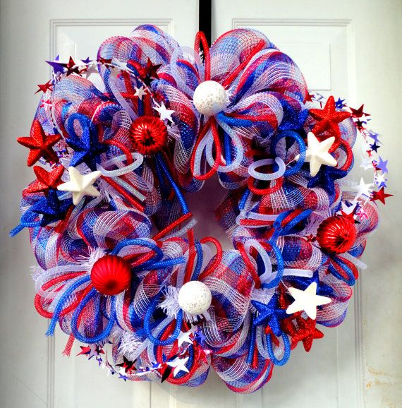 ONE LEFT-Labor Day - Patriotic Wreath - Summer Deco Mesh Wreath - 4th of July - Independence Day Wreath- Memorial Day Wreath