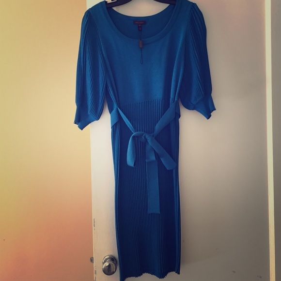 Escada dress Never worn electric blue pleaded dress Escada Dresses Midi