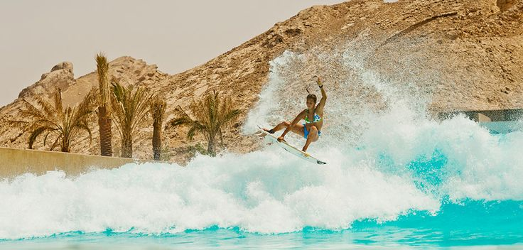 Sally Fitzgibbons at the Wadi Adventure Wave Pool in Dubai