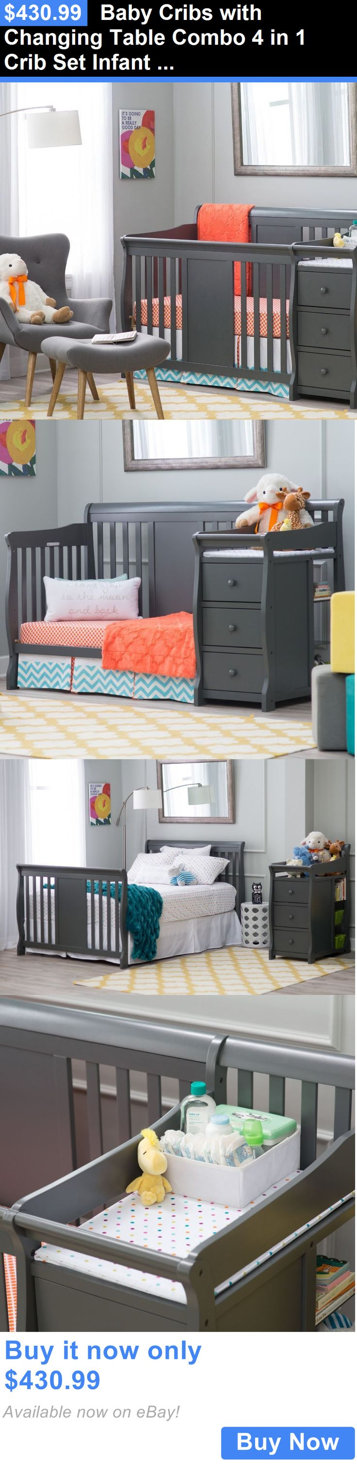 Baby Nursery: Baby Cribs With Changing Table Combo 4 In 1 Crib Set Infant Nursery Furniture BUY IT NOW ONLY: $430.99