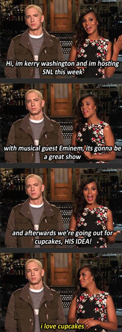 SNL w/Kerry Washington & Eminem, he loves cupcakes