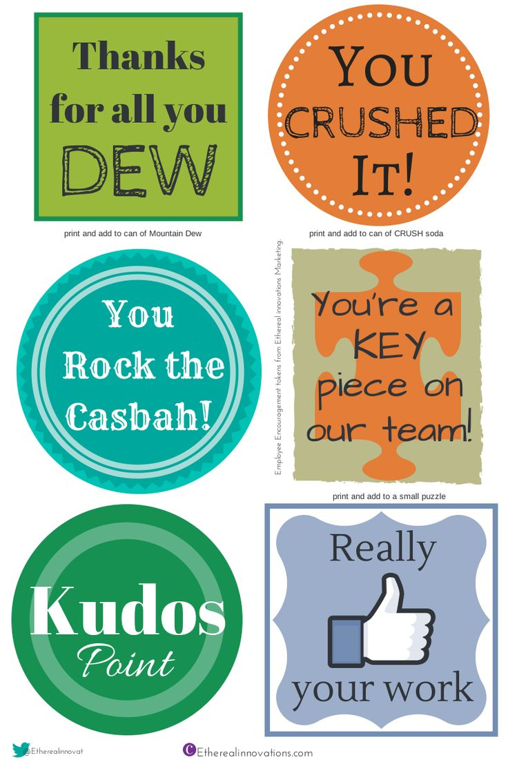 15 free printable employee engagement gifts and Appreciation badges for you to use to thank your Team.