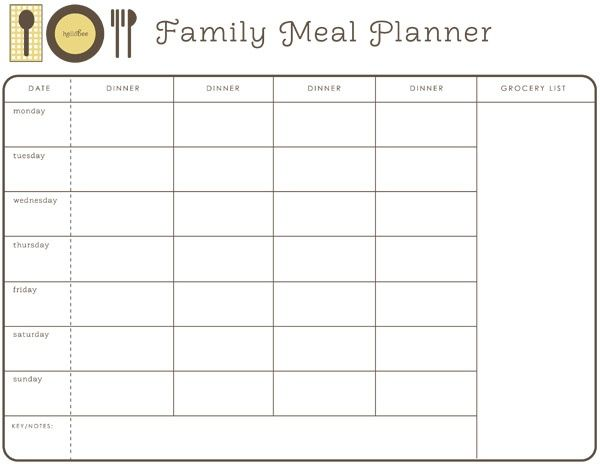 weekly month planner template for food - Google Search ...