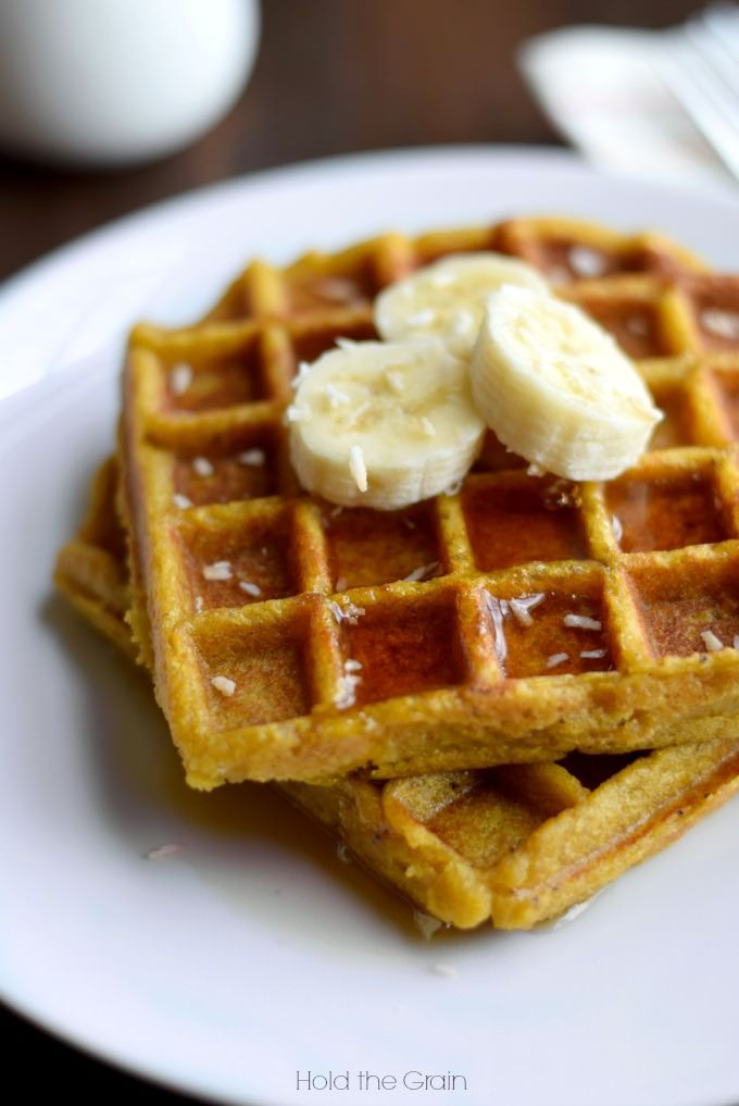 Sweet plantain waffles made from ripe plantains and coconut oil. They're egg-free, nut-free, AIP and vegan!: