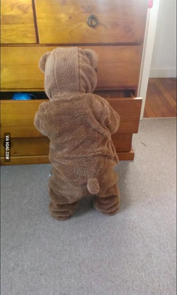 Cuteness Overload!!! Put my son to sleep in his new onesie, woke up to a bear raiding my drawers