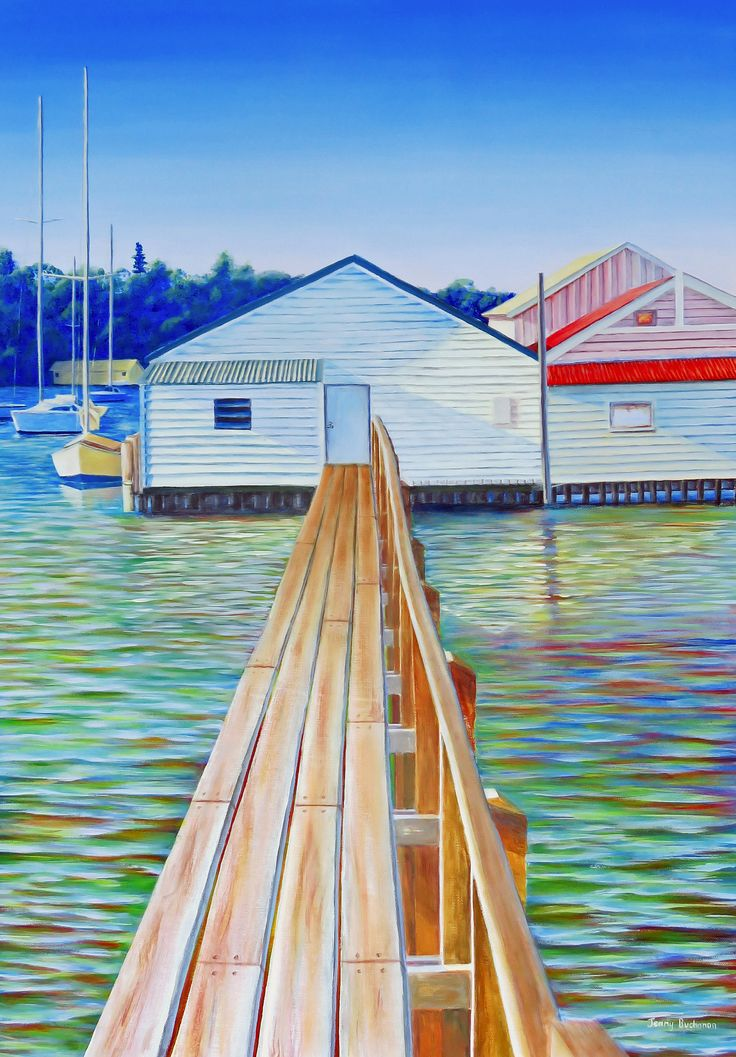 Original Art Acrylic Painting Large Canvas Art Unframed Beach House Decor Nautical Boat Painting Water Painting, Swan River Perth Boat Sheds by BlueBeachHouseArt on Etsy