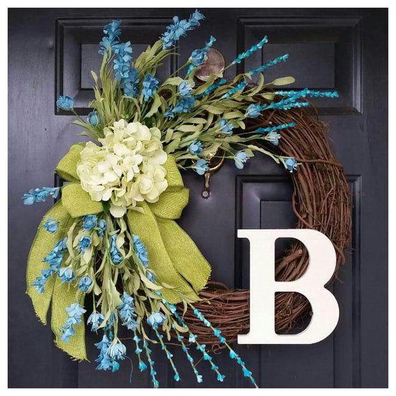 Turquoise wreath door wreath spring wreath by AutumnWrenDesigns