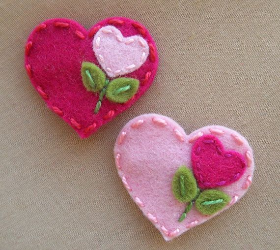Valentine's Day  Sweet Heart   Baby Pink  Wool by BerryCoolDesigns