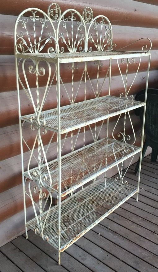 Primitive Antique Wrought Iron Bakers Rack Plant Stand Rustic Vintage 4  Shelf