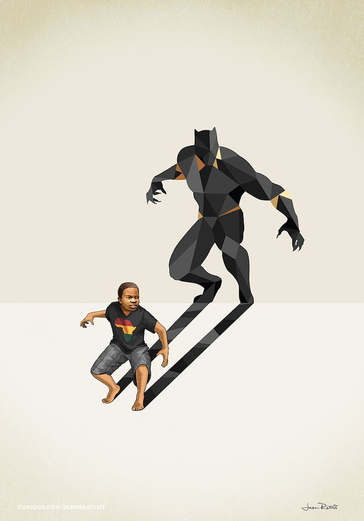 Artist Jason Ratliff is known for using superhero-centric images to inspire & empower children throughout the world. In his collection called Super Shadows, he depicts portraits of kids whose exaggerated shadows reflect the fictional figures that they admire most—like Batman, Ironman, and Captain America. By combining children with superheroes, he makes the powerful statement that these young people are already great and can be anything they want to be.