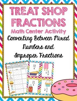 Super-cute math center to help your 4th and 5th grade students practice converting between mixed numbers and improper fractions.  Easy prep and highly engaging!