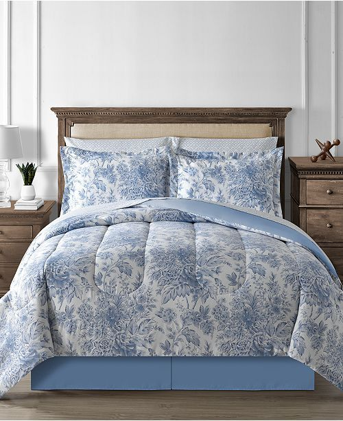 Floral Toile 8-Pc. King Reversible Comforter Set