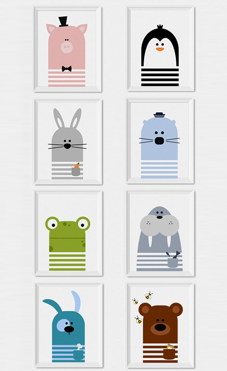 Fun and modern animals wall art to decorate a nursery or kids room. Pig, bunny, frog, puppy, bear, seal, walrus and penguin nursery animal prints by Limitation Free. This animal illustrations would be a lovely addition to your nursery decor or kids room decor