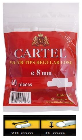 Filtre Cartel regular LONG pentru rulat tutun     Pretul este pentru 1 punga cu 60 Filtre Cartel regular Long     Ambalaj:  60 filtre/punga  Lungime:  20 mm  Diametru: 8 mm  Comenzi la tel: 0744545936 sau pe www.tuburipentrutigari.ro