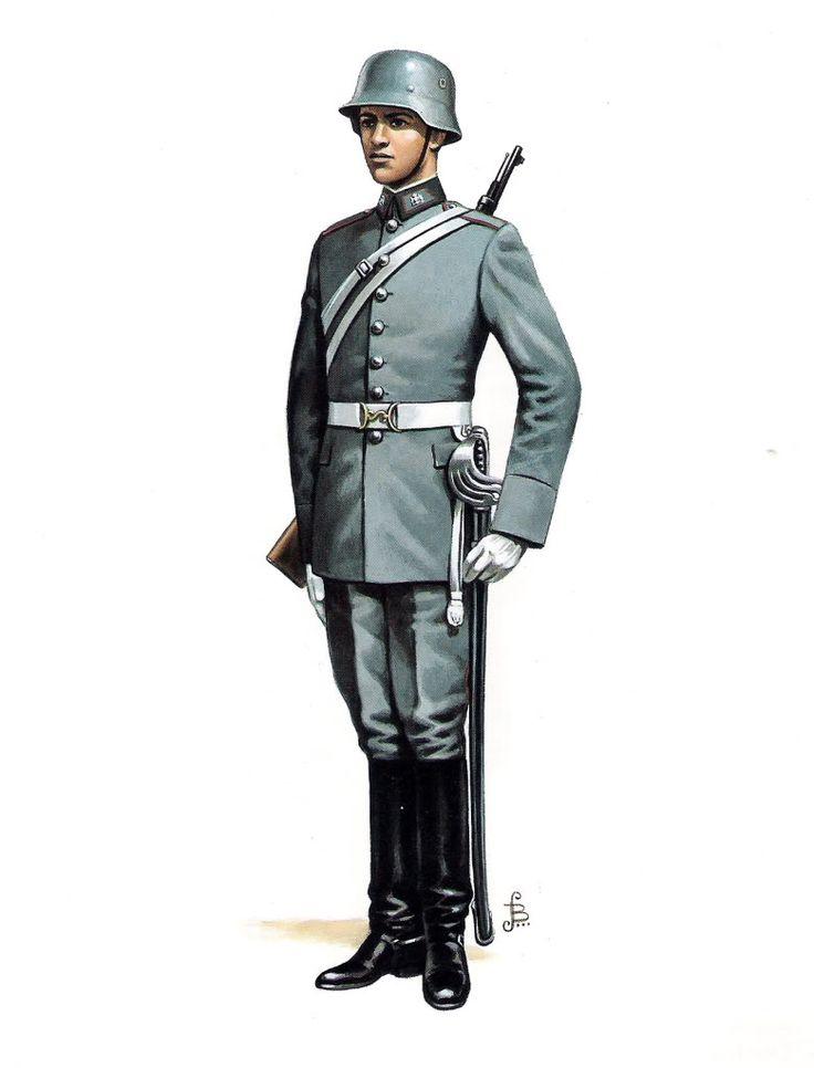Chilean Army cavalry escort soldiers' dress uniform.