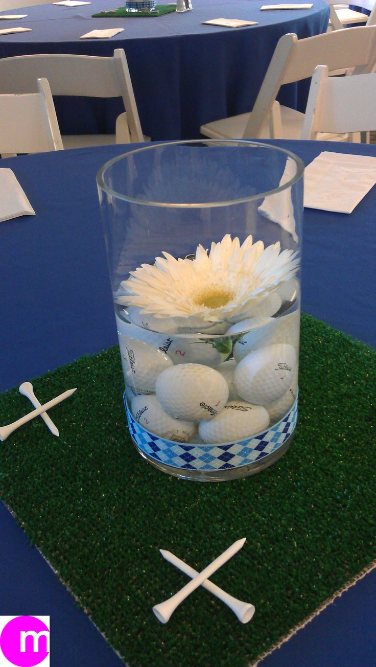 9 best images about golf luncheon on pinterest golf ball for Golf centerpiece ideas