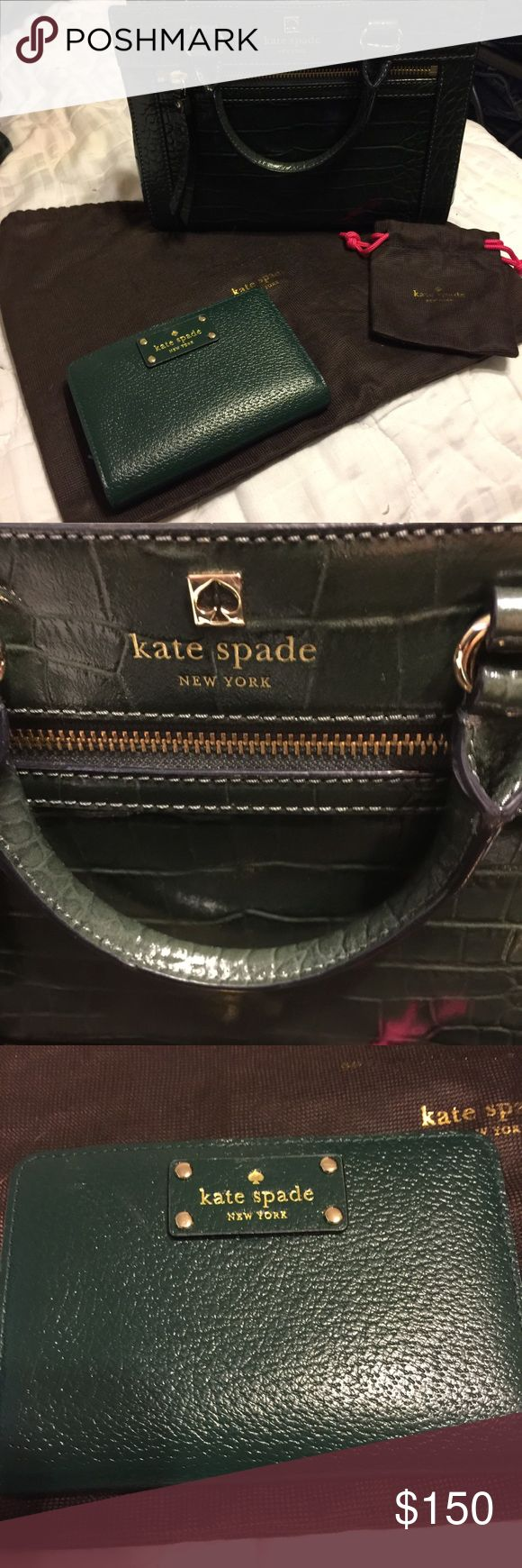 Kate Spade ♠️ crossbody Brand new never used cross body and matching wallet just in time for summer this stunning ensemble would be great for the fashionista. Emerald green can be casual or dressed up for an evening out on the town. Price includes wallet so both at $150.00 or trade for Apple Watch kate spade Other