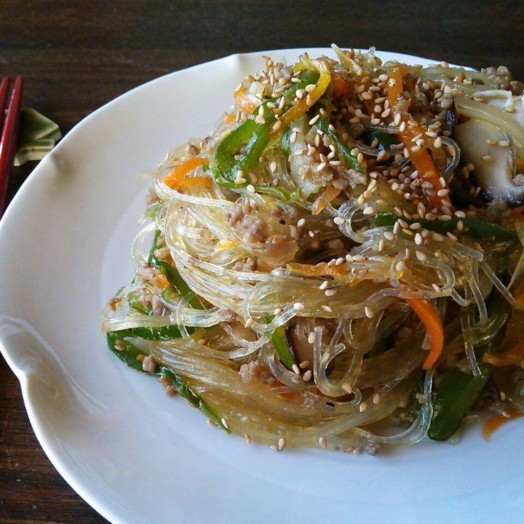 野菜た~ぷりヘルシー♪フライパン1つで挽き肉チャプチェ♪ | しゃなママオフィシャルブログ「しゃなママとだんご3兄弟の甘いもの日記」Powered by Ameba