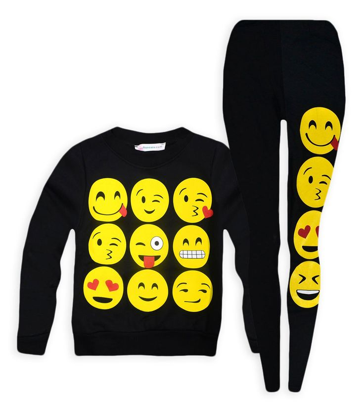 Jolly Rascals Girls Emoji Jumper And Matching Leggings Black 11-12 Years. Soft Touch Microfleece Lining To Jumper. Long Sleeve. Synthetic. Machine Washable. Crew Neck.