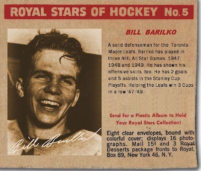1950 Royal Stars of Hockey Bill Barilko, Toronto Maple Leafs, Hockey Cards That Never Were