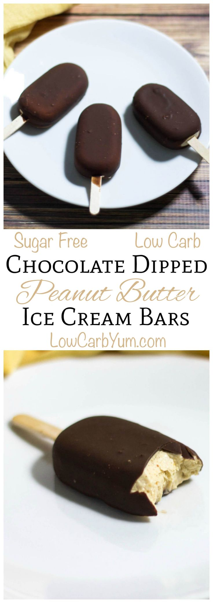 These sugar free low carb chocolate dipped peanut butter ice cream bars are so easy to make. LCHF Keto Banting THM Recipe