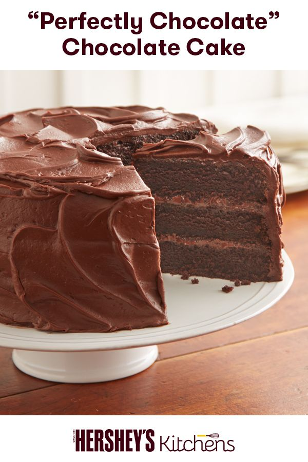 "You simply can't go wrong with this ""Perfectly Chocolate"" Chocolate Cake. This easy recipe is made with HERSHEY'S Cocoa for a delightful finish. It's a wonderful dessert for any family or friend gathering."