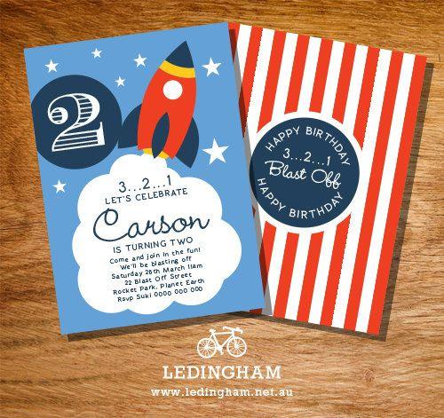 Rocket Birthday Party Invitations (Personalised DIY Printables)