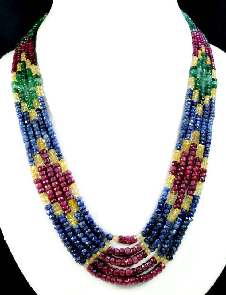 5 Strands Natural Ruby Emerald Sapphire 450ct Multi Row Gemstone Beads Necklace #KrishnaGemsNJewels #StrandString