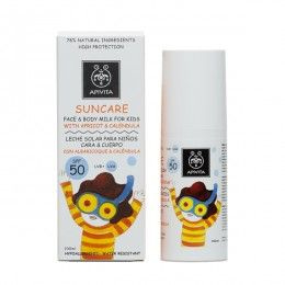 SUNCARE Face & Body Milk for Kids SPF50 with apricot & calendula. High Protection from UVA and UVB radiation #Hydration and Protection #Antiirritant Effect Sun care face and body milk (SPF 50 and UVA 29) with patented propolis that combats photoaging. Special formula for kids' sensitive skin that effectively protects from sun exposure and at the same time treats skin intensively. Read more at www.apivita.com