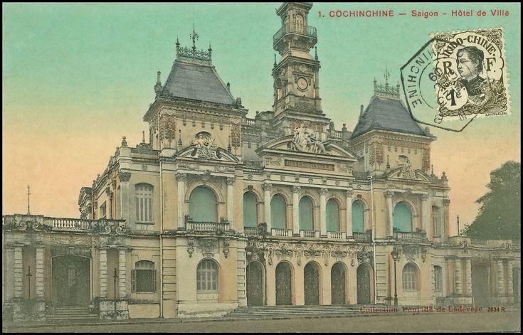 Vintage Saigon Postcard Post Card Drawing Asia