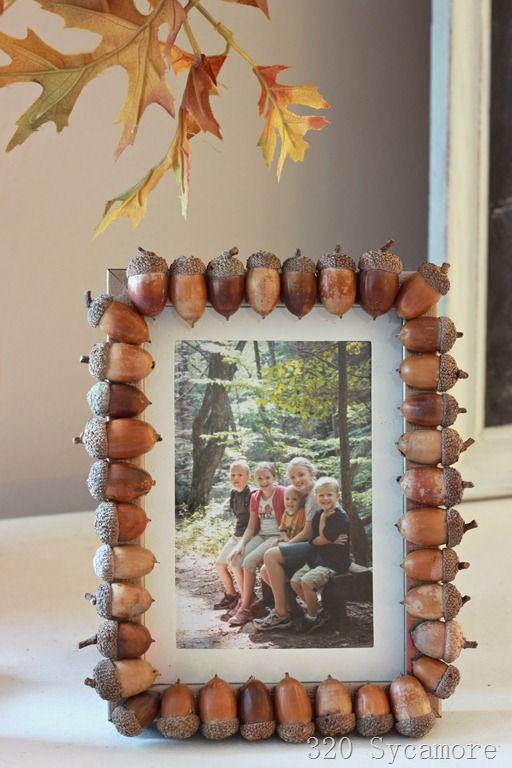 DIY Acorn frame-- hot glue acorns around the edges