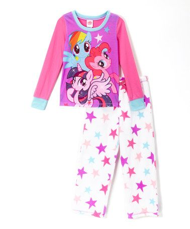 Look at this #zulilyfind! Pink & White My Little Pony Pajama Set - Girls by My Little Pony #zulilyfinds