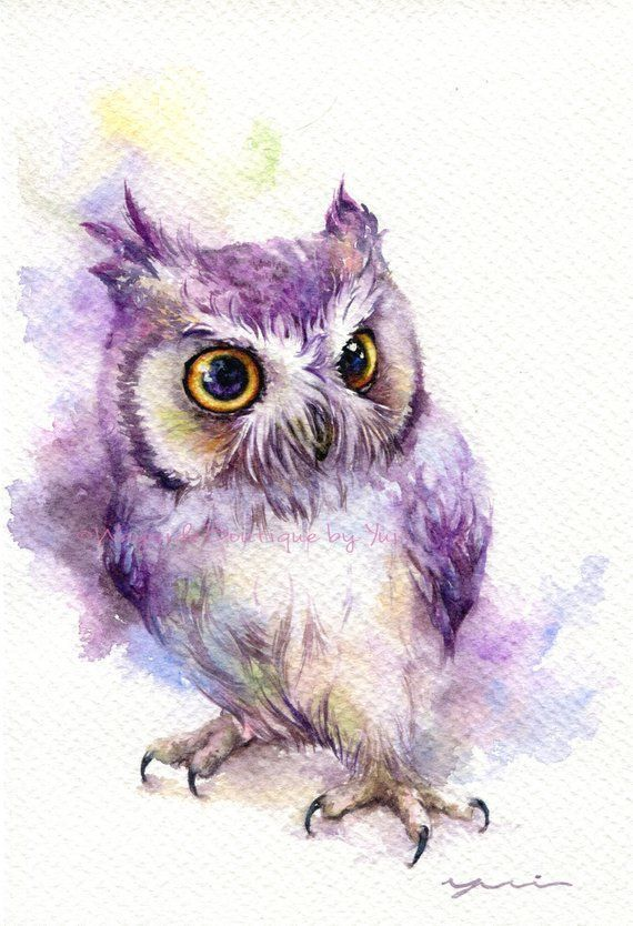 Print Owl Watercolor Painting 7 5 X 11 Aquarellmalerei Eulen