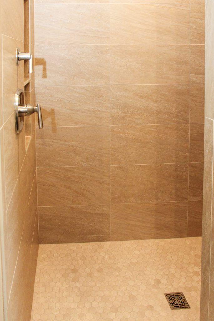 Sand Tile Shower Beige Hexagon Tile Shower Floor Tiled Showers In