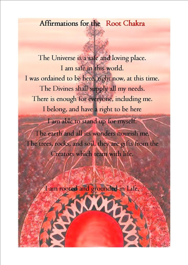 The root Chakra Affirmation...pic and words found on the web. I just put it together and tweaked the colors.