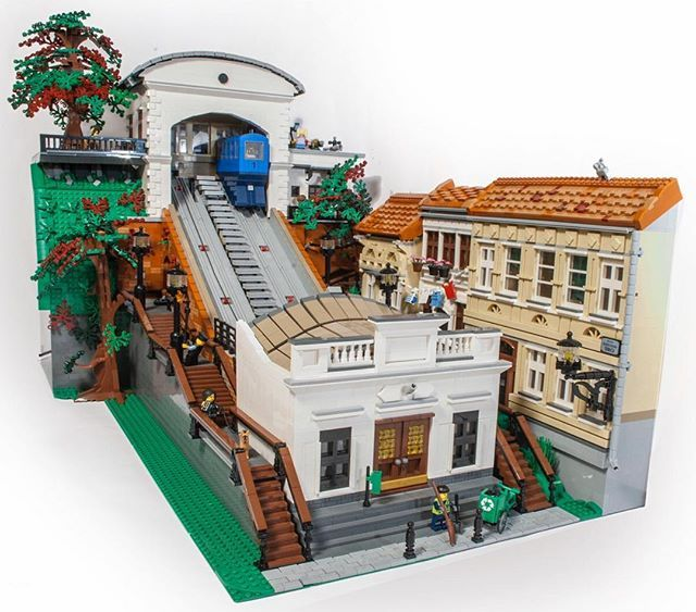 A Very Elegantly Finished Funicular Railway Model Based On A Real One In Zagreb Croatia And Built By Sven Franic On F Lego Architecture Lego Design Lego House