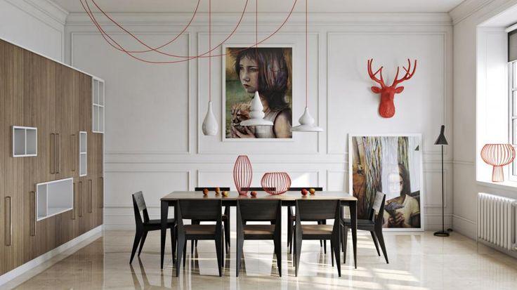 Дизайн-проект под кодовым названием «Красный олень» от Павла Ветрова (pavelvetrov) – это обеденная комната - Dining Room!  Мало того, что в работе представлен оригинальный, яркий дизайн интерьера, так еще и пол из бежевого мрамора Margraf смотрится как настоящий!  #конкурсдизайнеров #итальянскиймрамор #margraf #вроссии #облицовкаполамрамором