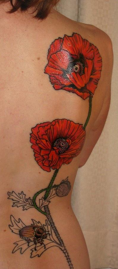See more red poppy flower tattoo on back back flower for Red flower tattoo