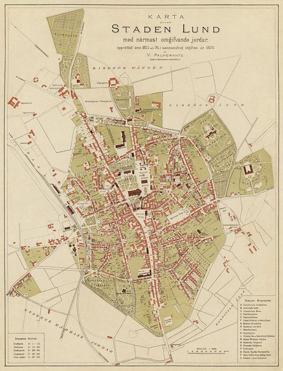 Vintage map of Lund (Sweden)