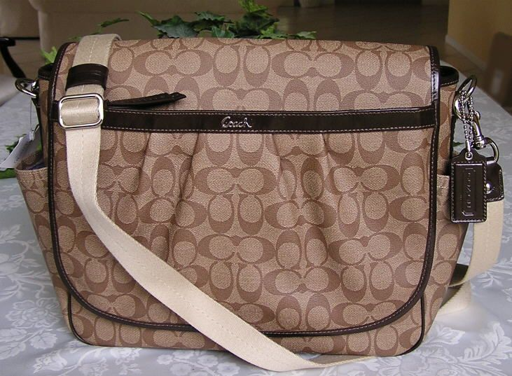77047c1946d7 9562c 5d2e7  get coach signature pvc messenger diaper laptop bag brown  18373 nwt 6ebb1 c814f
