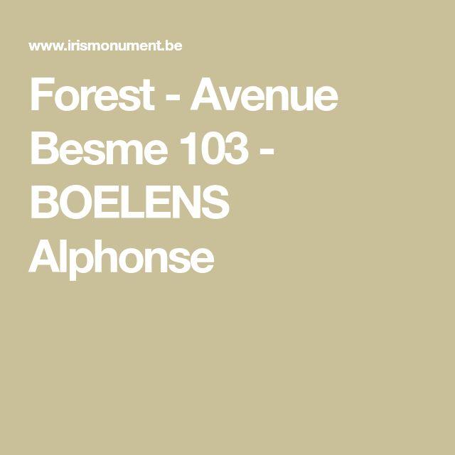 Forest - Avenue Besme 103 - BOELENS Alphonse