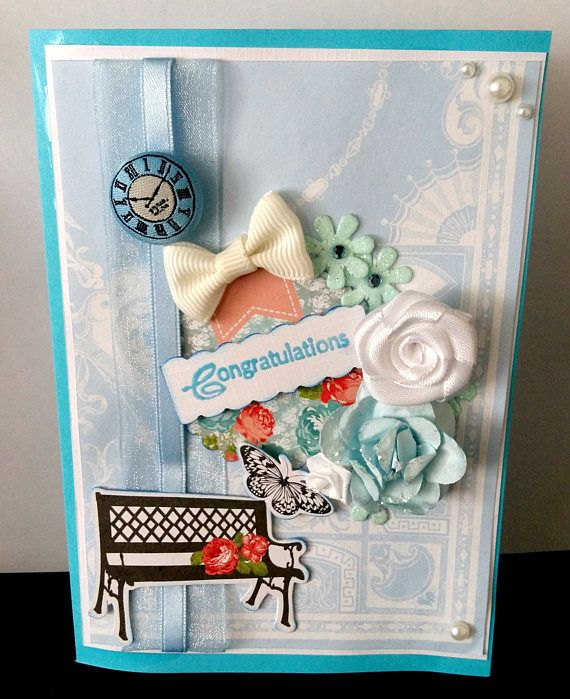 Blue handmade congratulations card with ribbon and diy cuts